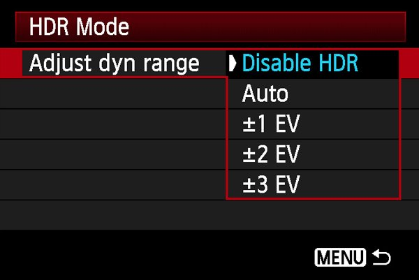 Camera-HDR-Menu-Mode