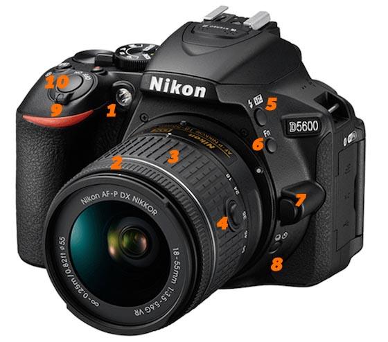 Funciones de la Nikon D5600 frente