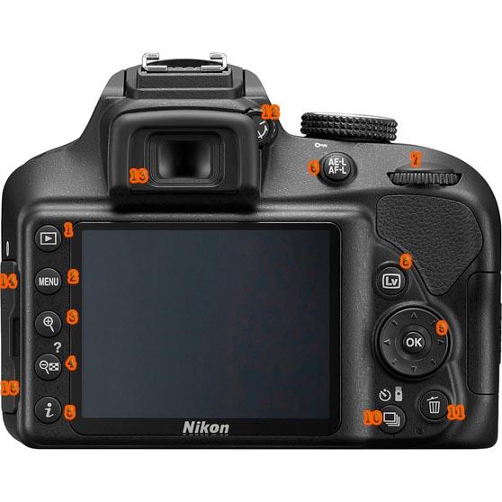 Funciones Nikon D3400 atras