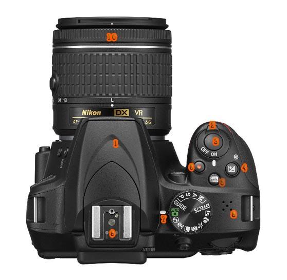 Funciones de la Nikon D3400 arriba