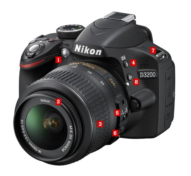 Camara Nikon D3200 Frente