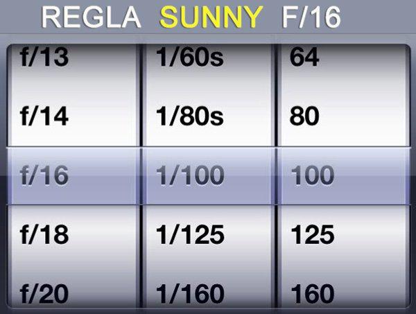 Regla Sunny 16
