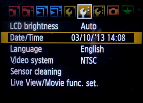 Ajustes menu Canon