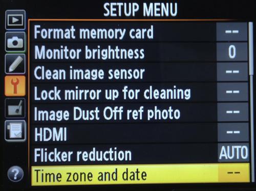 Ajustes menu camara Nikon